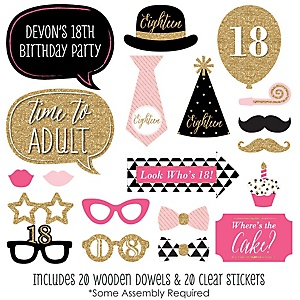 Chic 18th Birthday - Pink, Black and Gold - 20 Piece Photo Booth Props Kit