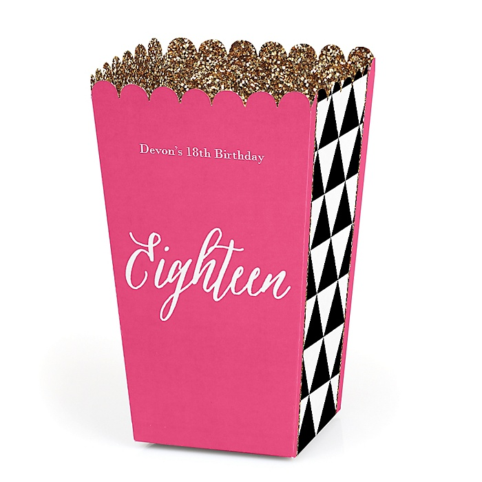 Chic 18th Birthday - Pink, Black and Gold - Personalized Birthday Party Popcorn Favor Treat Boxes - Set of 12