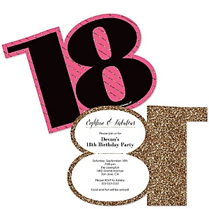 Chic 18th Birthday - Pink, Black and Gold - Shaped Birthday Party Invitations - Set of 12