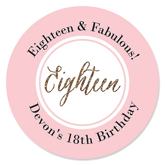 Chic 18th Birthday - Pink, Black and Gold - Personalized Birthday Party Sticker Labels - 24 ct