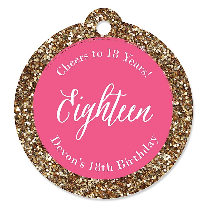 Chic 18th Birthday - Pink and Gold - Personalized Birthday Party Tags - 20 ct