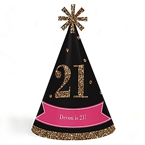 Finally 21 Girl - 21st Birthday - Personalized Cone Happy Birthday Party Hats for Kids and Adults - Set of 8 (Standard Size)