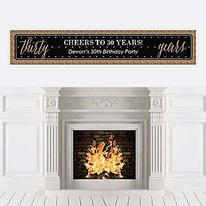 Chic 30th Birthday - Black and Gold - Personalized Birthday Party Banners