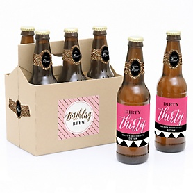 Chic 30th Birthday - Pink, Black and Gold - Decorations for Women and Men - 6 Beer Bottle Labels and 1 Carrier - Birthday Gift