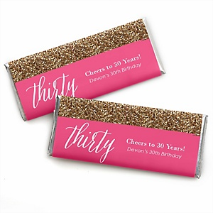 Chic 30th Birthday - Pink and Gold - Personalized Candy Bar Wrappers Birthday Party Favors - Set of 24