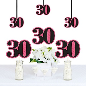 Chic 30th Birthday - Pink, Black and Gold - Decorations DIY Party Essentials - Set of 20