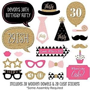 Chic 30th Birthday - Pink, Black and Gold - 20 Piece Photo Booth Props Kit
