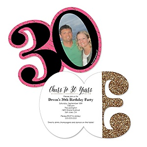 Chic 30th Birthday - Personalized Pink, Black and Gold - Personalized Shaped Photo Birthday Party Invitations - Set of 12