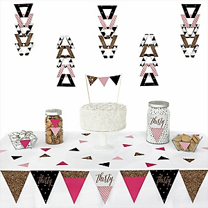 Chic 30th Birthday - Pink, Black and Gold -  Triangle Birthday Party Decoration Kit - 72 Piece