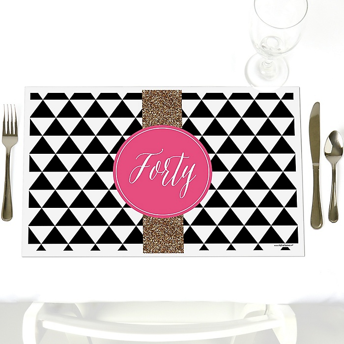 Chic 40th Birthday - Pink, Black and Gold - Party Table Decorations - Birthday Party Placemats - Set of 12