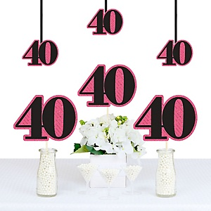 Chic 40th Birthday - Pink, Black and Gold - Decorations DIY Party Essentials - Set of 20