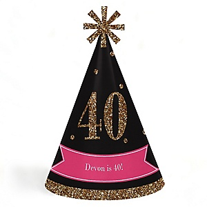 Chic 40th Birthday - Pink, Black and Gold - Personalized Cone Happy Birthday Party Hats for Kids and Adults - Set of 8 (Standard Size)
