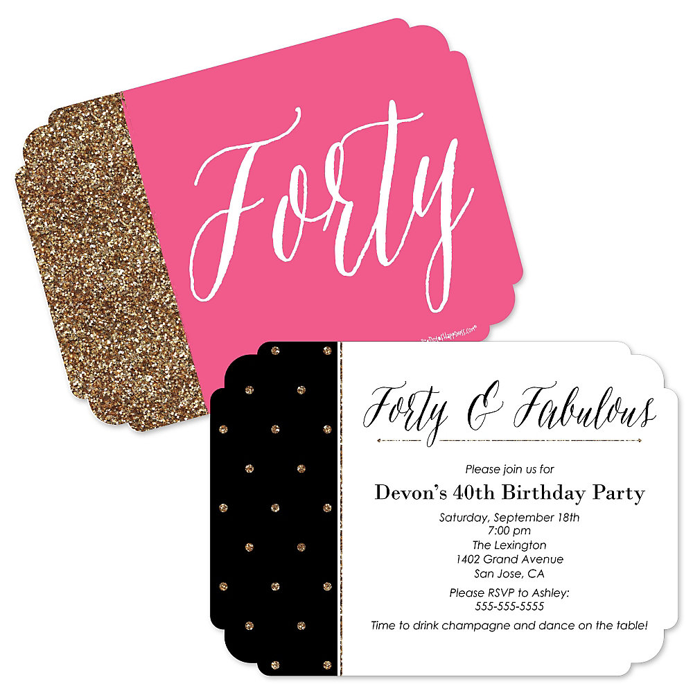 Chic 40th Birthday - Pink, Black and Gold - Shaped Birthday Party ...
