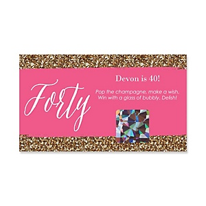 Chic 40th Birthday - Pink and Gold - Personalized Birthday Party Game Scratch Off Cards - 22 ct