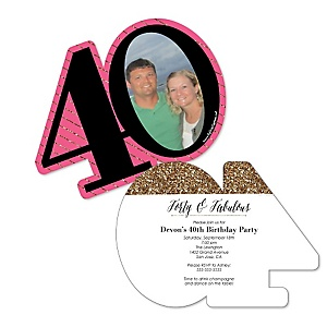 Chic 40th Birthday - Personalized Pink, Black and Gold - Personalized Shaped Photo Birthday Party Invitations - Set of 12