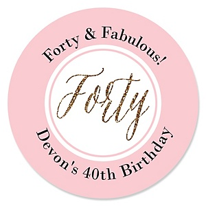 Chic 40th Birthday - Pink, Black and Gold - Personalized Birthday Party Sticker Labels - 24 ct