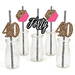 Chic 40th Birthday - Pink, Black and Gold - Paper Straw Decor - Birthday Party Striped Decorative Straws - Set of 24