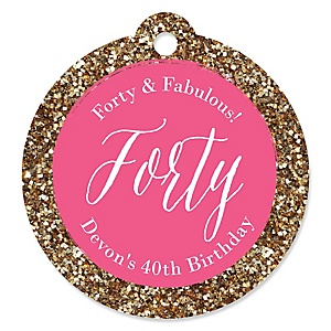 Chic 40th Birthday - Pink and Gold - Round Personalized Birthday Party Tags - 20 ct
