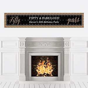 Chic 50th Birthday - Black and Gold - Personalized Birthday Party Banners