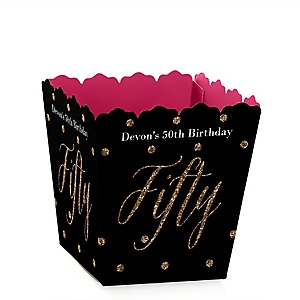 Chic 50th Birthday - Pink, Black and Gold - Party Mini Favor Boxes - Personalized Birthday Party Treat Candy Boxes - Set of 12