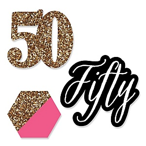 Chic 50th Birthday - Pink, Black and Gold - DIY Shaped Party Paper Cut-Outs - 24 ct