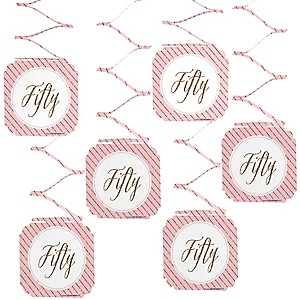 Chic 50th Birthday - Pink and Gold - Birthday Party Hanging Decorations - 6 ct