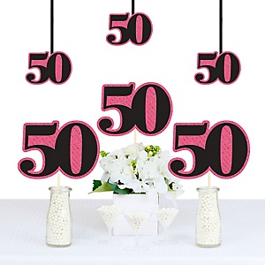 Chic 50th Birthday - Pink, Black and Gold - Decorations DIY Party Essentials - Set of 20