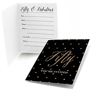 Chic 50th Birthday - Black and Gold - Birthday Party Fill In Invitations - 8 ct