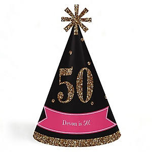 Chic 50th Birthday - Pink, Black and Gold - Personalized Cone Happy Birthday Party Hats for Kids and Adults - Set of 8 (Standard Size)