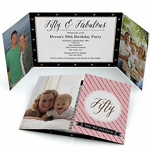 Chic 50th Birthday - Pink, Black and Gold - Personalized Birthday Party Photo Invitations - Set of 12