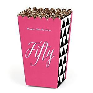 Chic 50th Birthday - Pink, Black and Gold - Personalized Birthday Party Popcorn Favor Treat Boxes - Set of 12