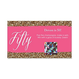 Chic 50th Birthday - Pink and Gold - Personalized Birthday Party Game Scratch Off Cards - 22 ct
