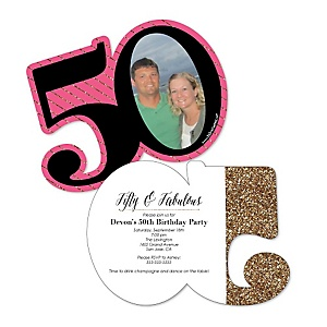 Chic 50th Birthday - Personalized Pink, Black and Gold - Personalized Shaped Photo Birthday Party Invitations - Set of 12
