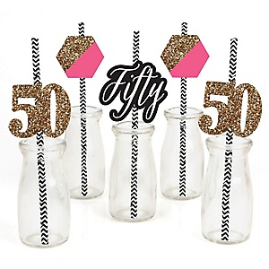 Chic 50th Birthday - Pink, Black and Gold - Paper Straw Decor - Birthday Party Striped Decorative Straws - Set of 24