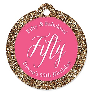 Chic 50th Birthday - Pink and Gold - Personalized Birthday Party Tags - 20 ct