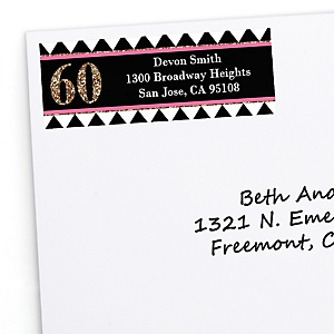 Chic 60th Birthday - Pink, Black and Gold - Personalized Birthday Party Return Address Labels - 30 ct