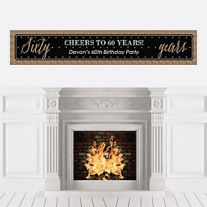 Chic 60th Birthday - Black and Gold - Personalized Birthday Party Banners