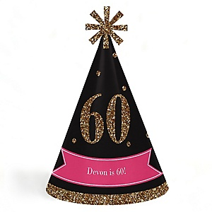Chic 60th Birthday - Pink, Black and Gold - Personalized Cone Happy Birthday Party Hats for Kids and Adults - Set of 8 (Standard Size)