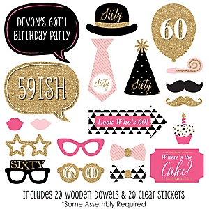 Chic 60th Birthday - Pink, Black and Gold - 20 Piece Photo Booth Props Kit