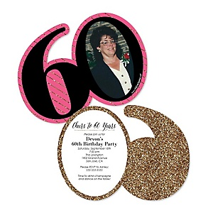 Chic 60th Birthday - Pink, Black and Gold - Personalized Shaped Photo Birthday Party Invitations - Set of 12