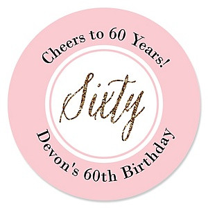 Chic 60th Birthday - Pink, Black and Gold - Personalized Birthday Party Sticker Labels - 24 ct