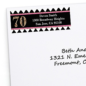 Chic 70th Birthday - Pink, Black and Gold - Personalized Birthday Party Return Address Labels - 30 ct