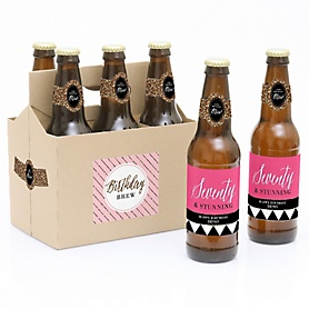 Chic 70th Birthday - Pink, Black and Gold - Decorations for Women and Men - 6 Beer Bottle Labels and 1 Carrier - Birthday Gift