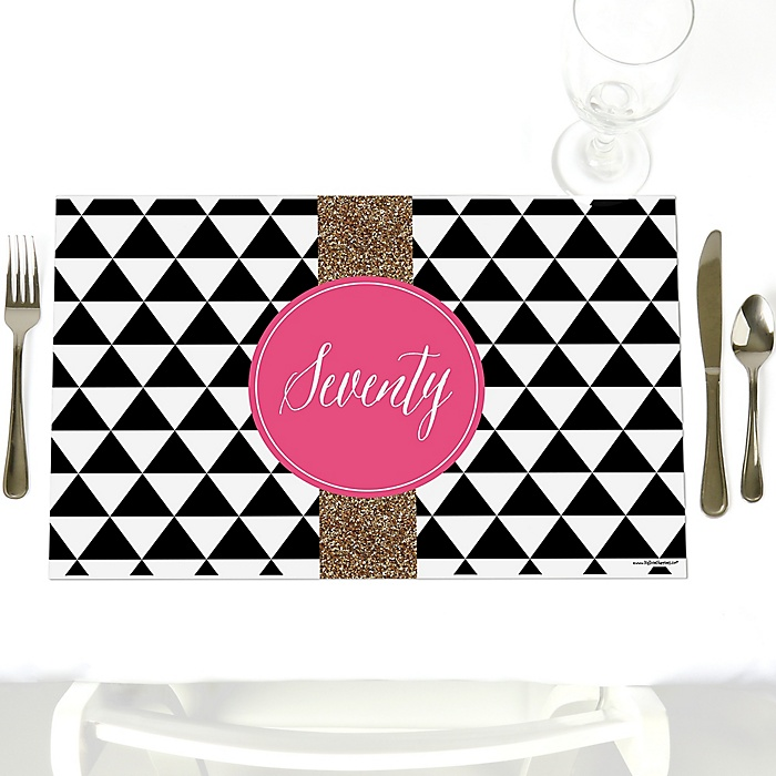 Chic 70th Birthday - Pink, Black and Gold - Party Table Decorations - Birthday Party Placemats - Set of 12