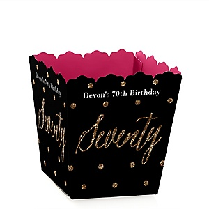 Chic 70th Birthday - Pink, Black and Gold - Party Mini Favor Boxes - Personalized Birthday Party Treat Candy Boxes - Set of 12