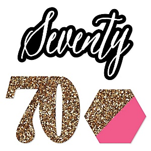 Chic 70th Birthday - Pink, Black and Gold - DIY Shaped Party Paper Cut-Outs - 24 ct