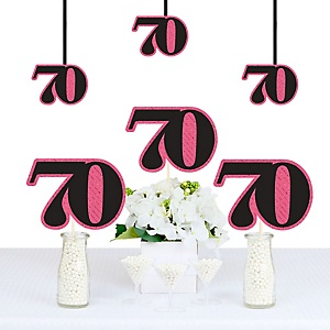 Chic 70th Birthday - Pink, Black and Gold - Decorations DIY Party Essentials - Set of 20
