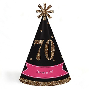 Chic 70th Birthday - Pink, Black and Gold - Personalized Cone Happy Birthday Party Hats for Kids and Adults - Set of 8 (Standard Size)