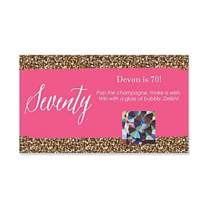 Chic 70th Birthday - Pink and Gold - Personalized Birthday Party Game Scratch Off Cards - 22 ct
