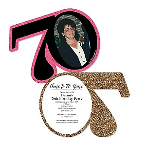Chic 70th Birthday - Pink, Black and Gold - Personalized Shaped Photo Birthday Party Invitations - Set of 12